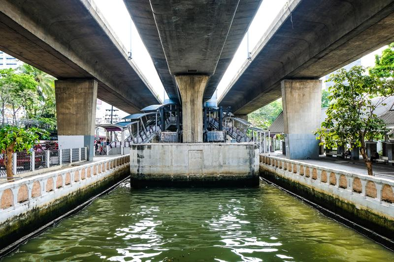 Under The Sky Bridge Highway On The Way To The Sathorn Central Pier Ferry Terminal Downtown Bangkok Thailand royalty free stock photography
