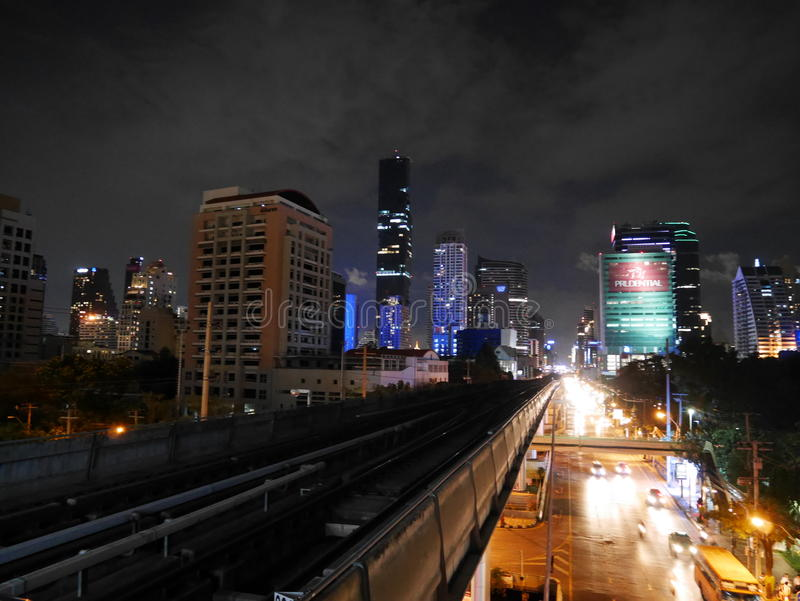 Sathorn Road at Night royalty free stock photography