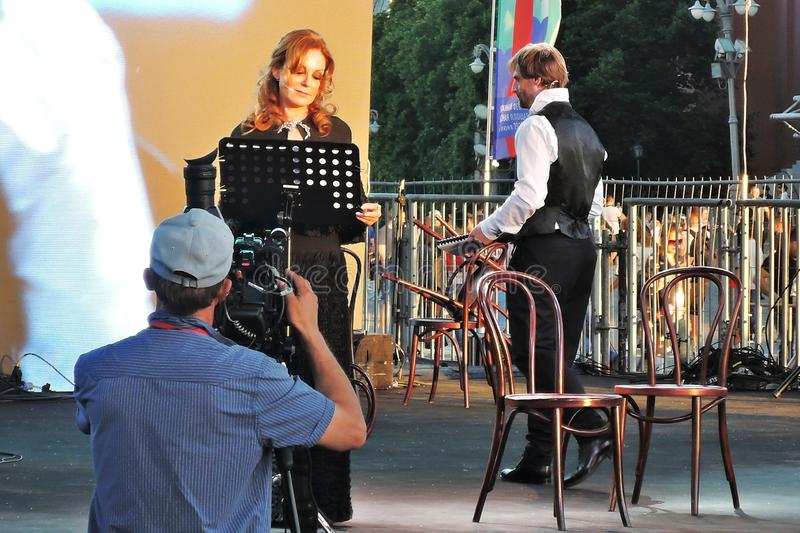 Sati Spivakova at public concert. The Red Square Book Fair in Moscow. Sati Spivakova at public concert. Actors read famous literature books. The Red Square Book royalty free stock image