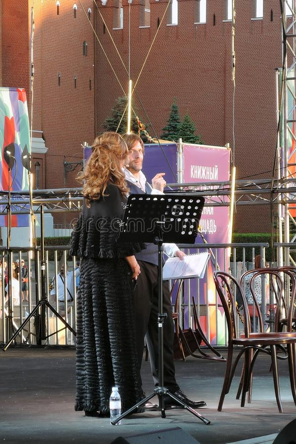 Sati Spivakova at public concert. The Red Square Book Fair in Moscow. Sati Spivakova at public concert. Actors read famous literature books. The Red Square Book stock images