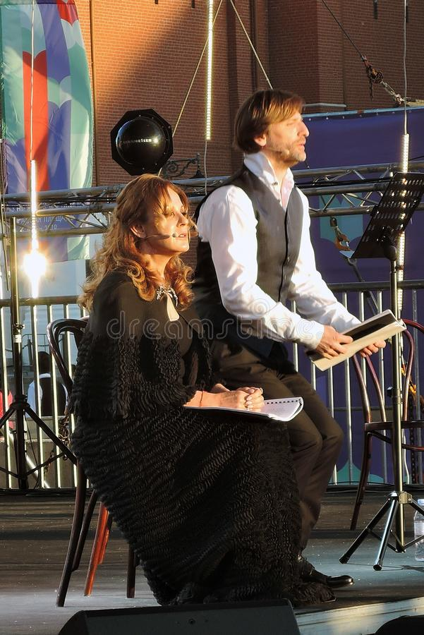 Sati Spivakova at public concert. The Red Square Book Fair in Moscow. Sati Spivakova at public concert. Actors read famous literature books. The Red Square Book royalty free stock photo