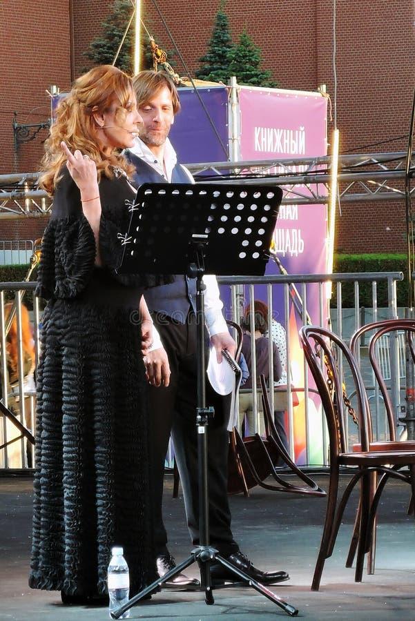 Sati Spivakova at public concert. The Red Square Book Fair in Moscow. Sati Spivakova at public concert. Actors read famous literature books. The Red Square Book stock image
