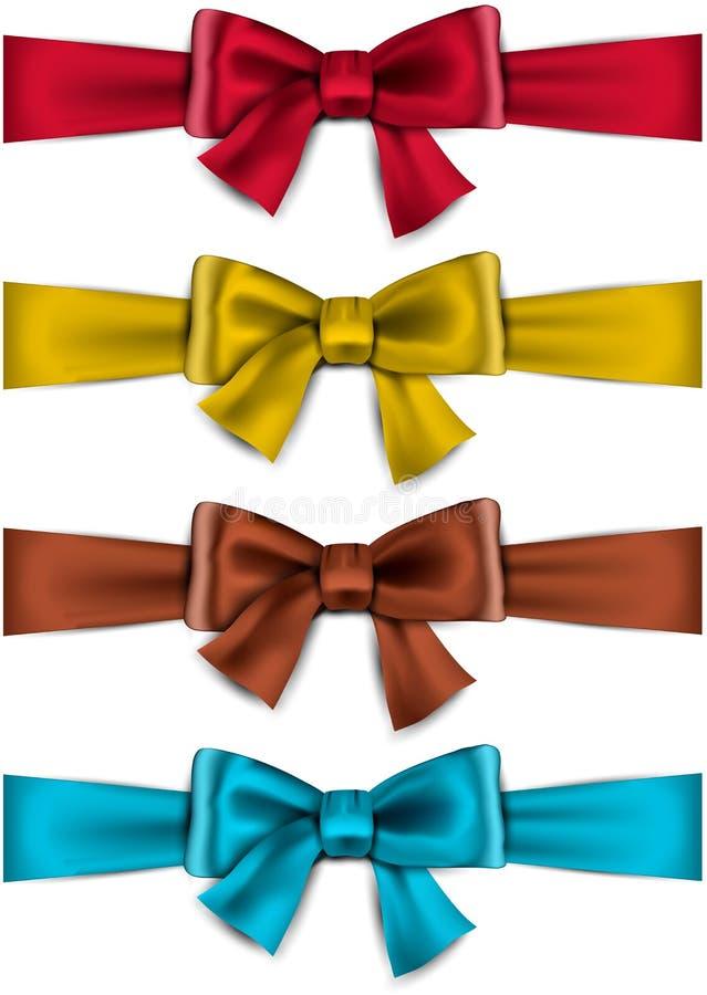 Satin Color Ribbons. Gift Bows. Stock Photos
