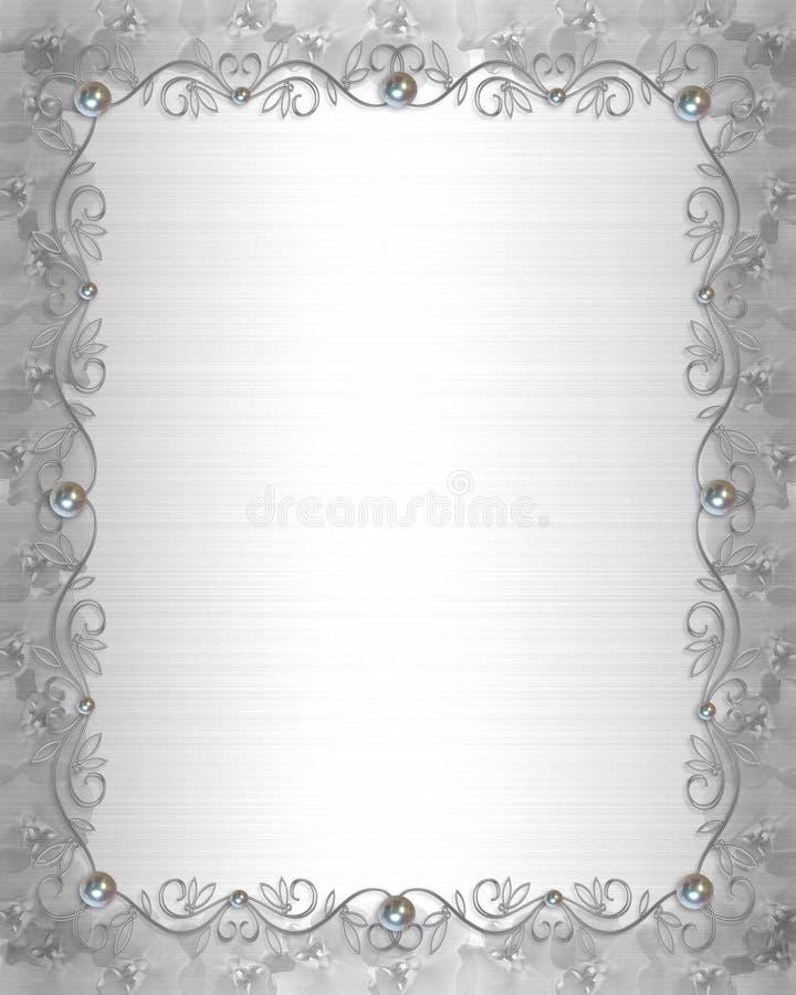 Satin et perles de cadre d'invitation de mariage illustration de vecteur