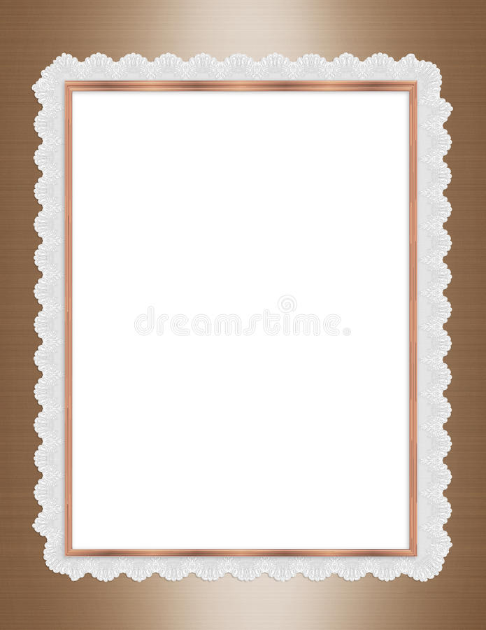 Satin and lace border frame gold vector illustration
