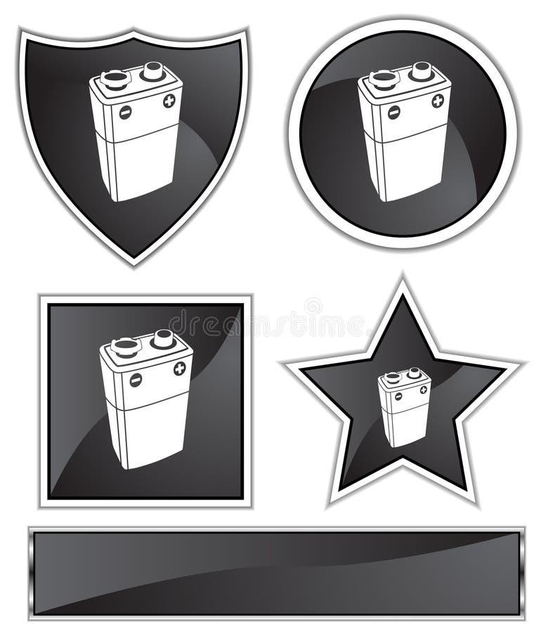 Satin noir - batterie 9V illustration de vecteur