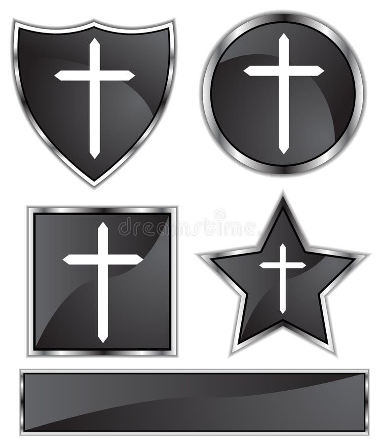 Satin noir - croix illustration stock
