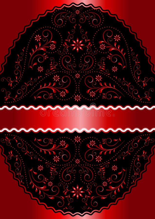 Satin red ribbon in red wavy openwork floral oval frame stock illustration