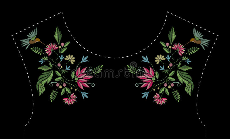 Satin stitch embroidery design with flowers and birds. Folk line floral trendy pattern for dress neckline. Ethnic royalty free illustration