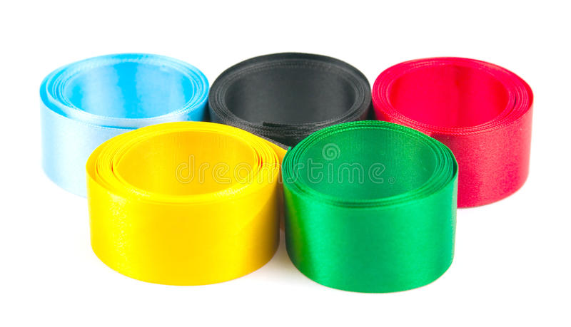 Satiny Tapes Combined In Form Of Olympic Rings Stock Photo