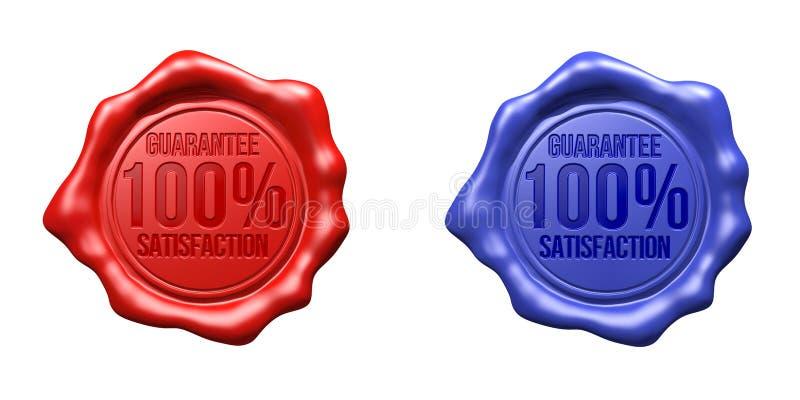 Satisfação ajustada selo da garantia da cera (vermelho, azuis) - 100% ilustração do vetor