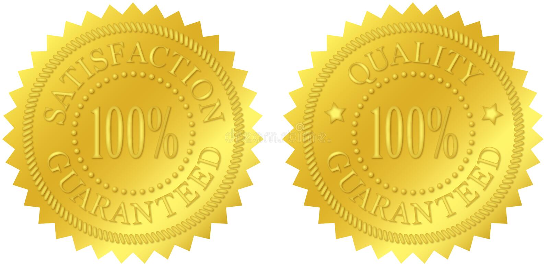Satisfação e selos garantidos qualidade do ouro ilustração stock
