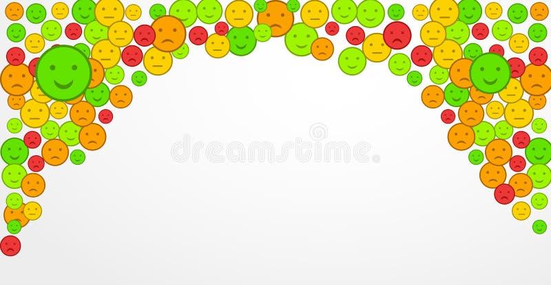 Satisfacción del cliente con sonrisas en la forma de diversas emociones r Fije de iconos planos del emoji Emoticon triste y feliz ilustración del vector