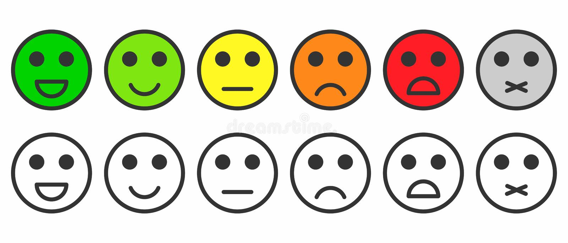 Satisfacción del grado Reacción en la forma de emociones monocromáticas y coloridas, emojis stock de ilustración