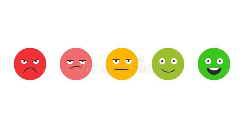 Satisfacción del grado Reacción en la forma de emociones Tremendo excelente, bueno, normal, malo Ejemplo del vector aislado en bl ilustración del vector