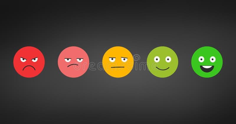 Satisfacción del grado Reacción en la forma de emociones Tremendo excelente, bueno, normal, malo Escala de dolor Ejemplo del vect ilustración del vector