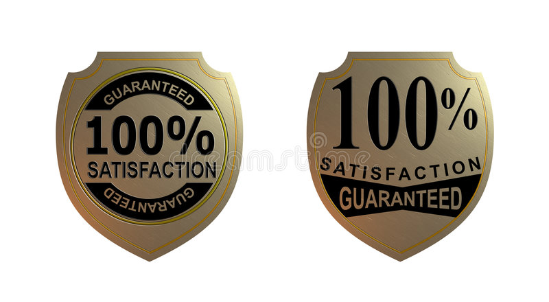 Satisfaction 100  Garantie Photo libre de droits