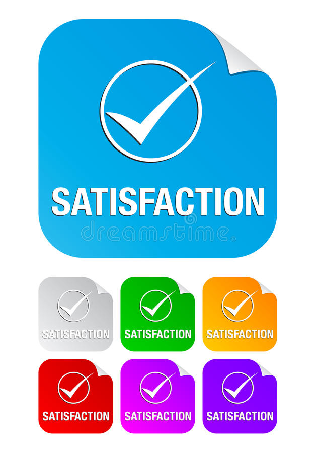 Satisfaction check mark,square stickers