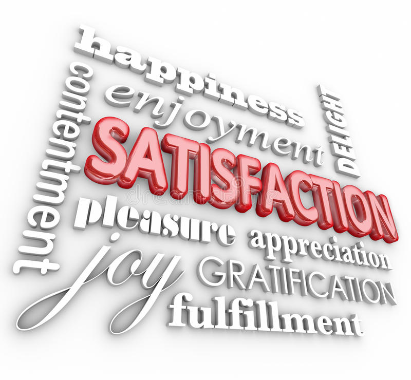 Satisfaction 3d Word Collage Happiness Enjoyment Customer Service stock illustration