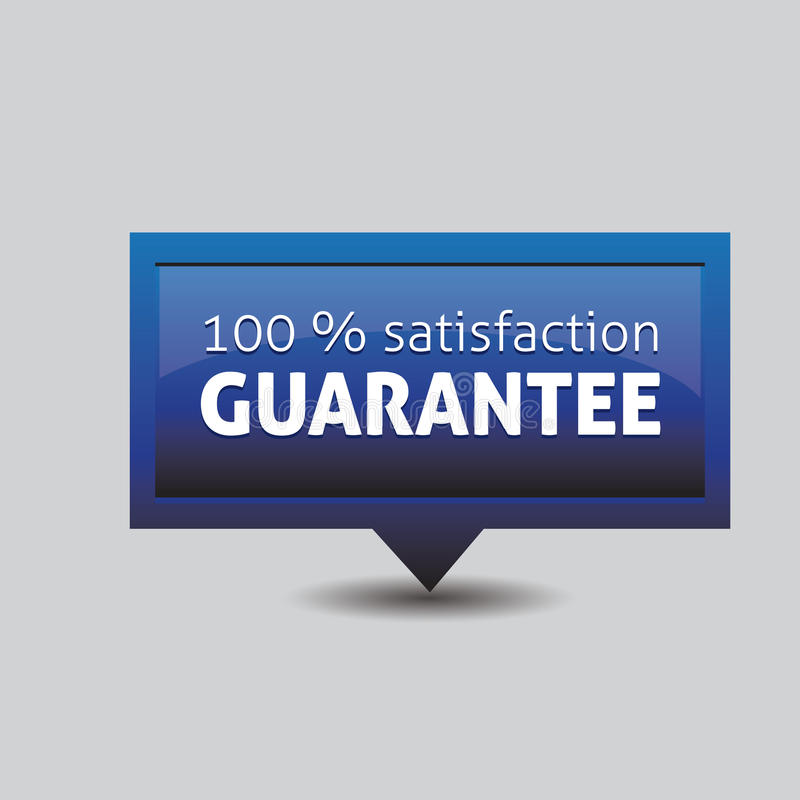 Satisfaction guarantee label. Vector blue stock illustration