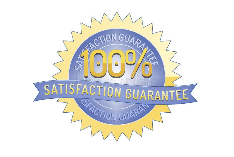 100% satisfaction guarantee ribbon and badge. Style design element on white background vector illustration