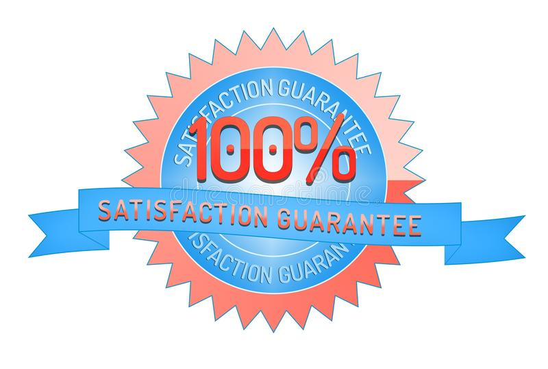100% satisfaction guarantee ribbon and badge. Style design element on white background stock illustration