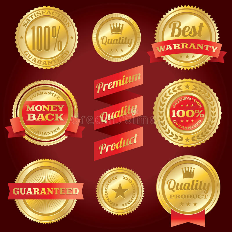 Satisfaction Guarantee and Warranty Badges and Labels. Set of vector satisfaction guarantee and warranty labels and badges. Vector EPS 10 file available stock illustration