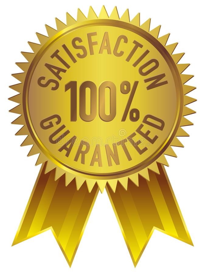 100% Satisfaction Guaranteed Badge Icon in Gold with ribbon vector illustration