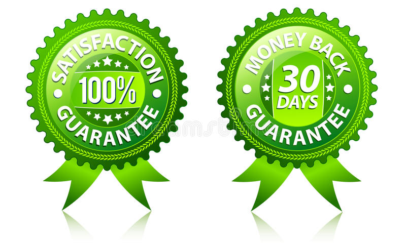 Satisfaction and money back guarantee labels stock illustration