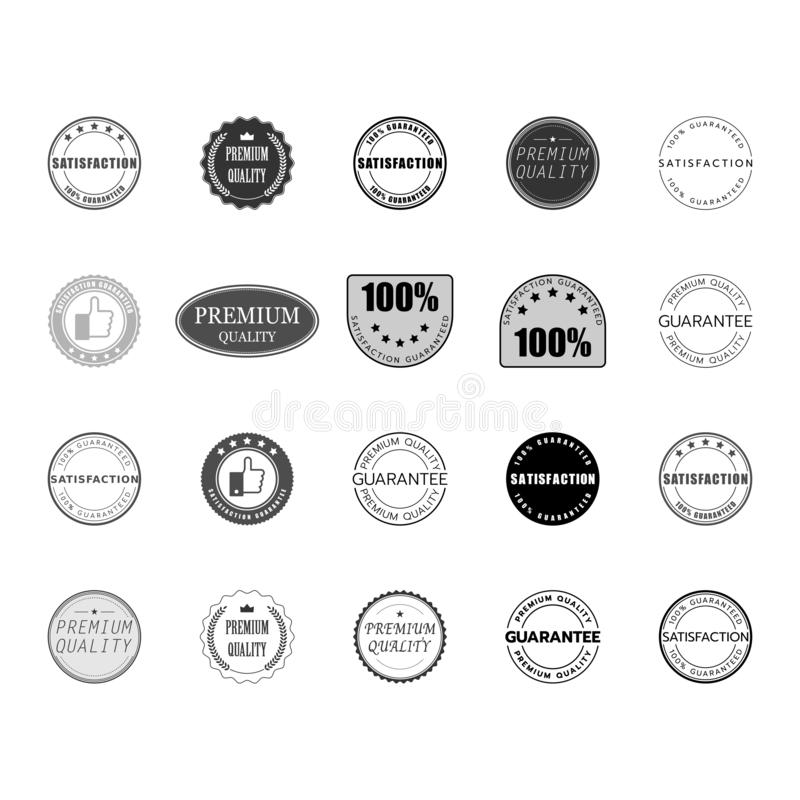 Satisfaction quality premium guarantee logo set vector. stock illustration