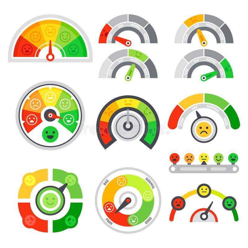 Satisfaction rating meter. Quality speedometer, goods grade indicator and mood graph ratings. Color tachometer stock illustration