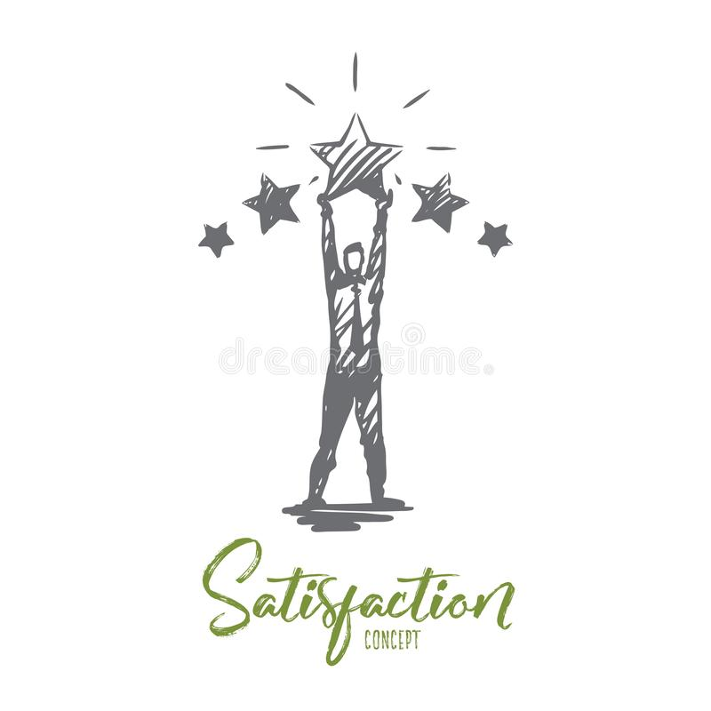 Satisfaction, service, client, rétroaction, concept de qualité Vecteur d'isolement tiré par la main illustration libre de droits
