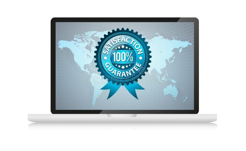 Satisfation guarantee label in laptop royalty free illustration