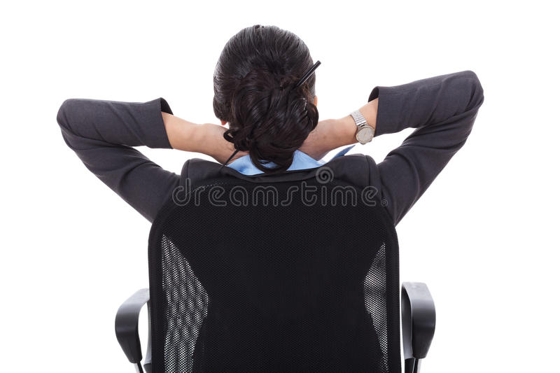 Satisfied business woman stock photo
