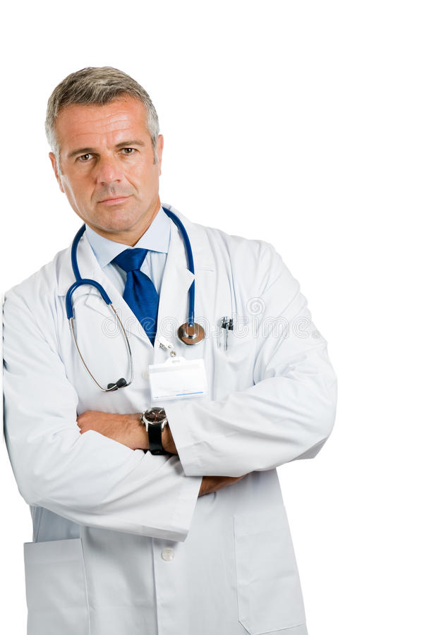 Satisfied doctor standing stock photography