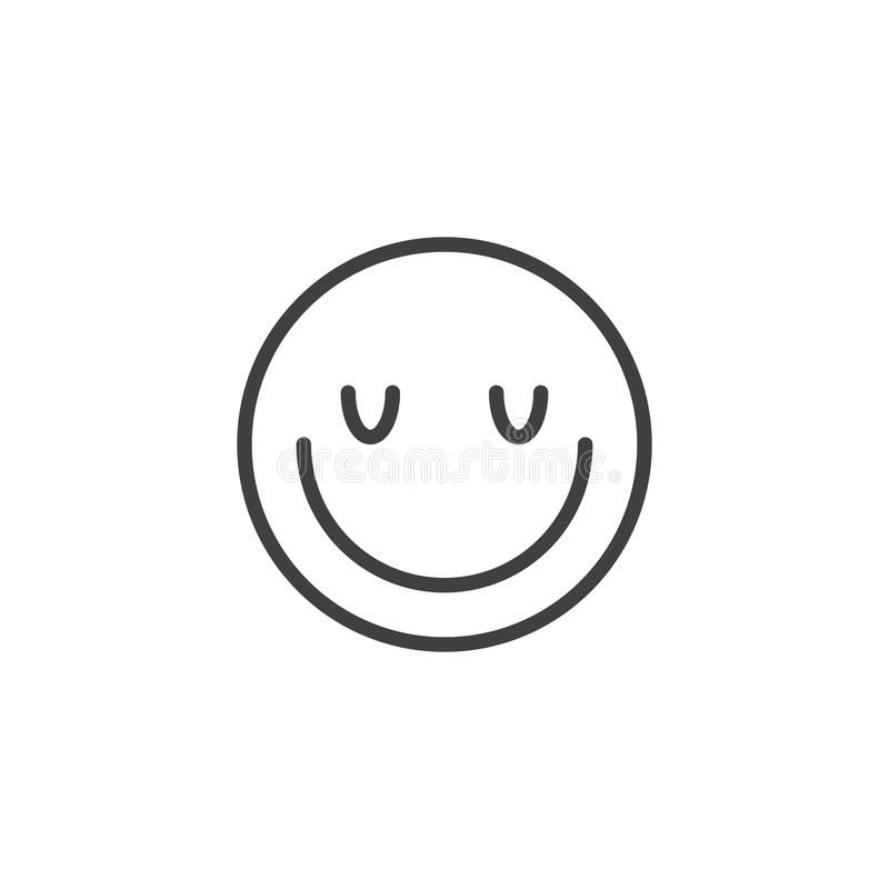 Satisfied face emoji line icon. Linear style sign for mobile concept and web design. Happy face emoticon outline vector icon. Symbol, logo illustration. Vector royalty free illustration