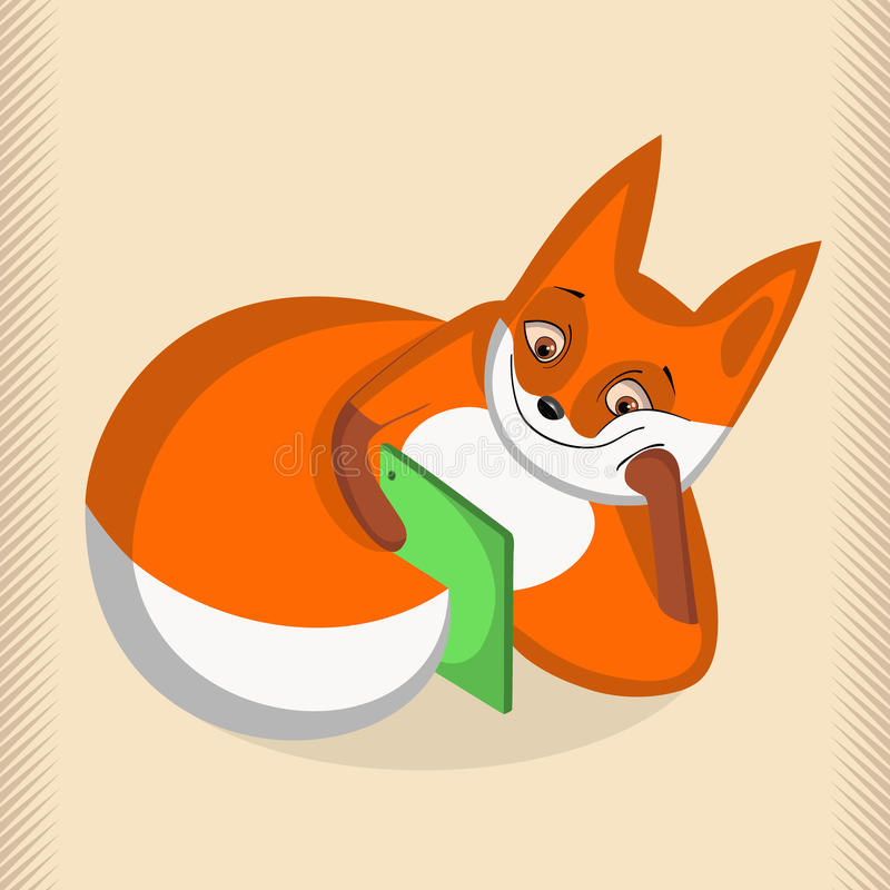 Satisfied fox lying and looking at tablet stock image