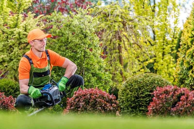Satisfied Gardener in a Garden stock images