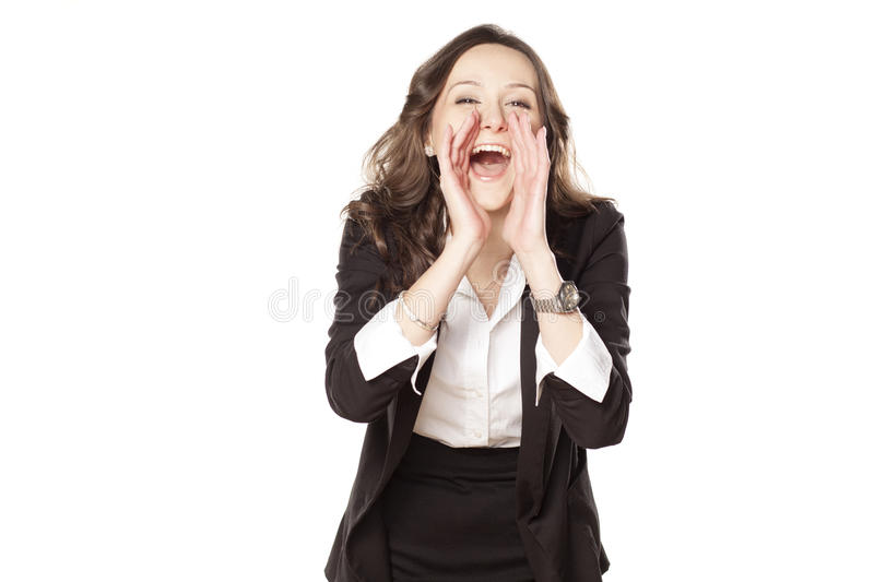 Download Happy woman shouting stock image. Image of shout, casual - 29859819