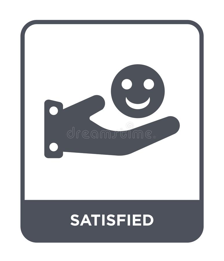 satisfied icon in trendy design style. satisfied icon isolated on white background. satisfied vector icon simple and modern flat stock illustration