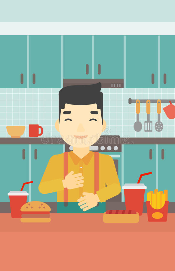 Satisfied man eating fast food. Smiling man with eyes closed touching his tummy. Satisfied man had the best ingestion. Man standing in front of table with fast vector illustration