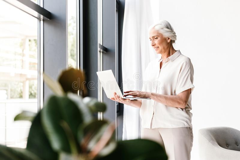Satisfied mature business woman working on laptop royalty free stock image