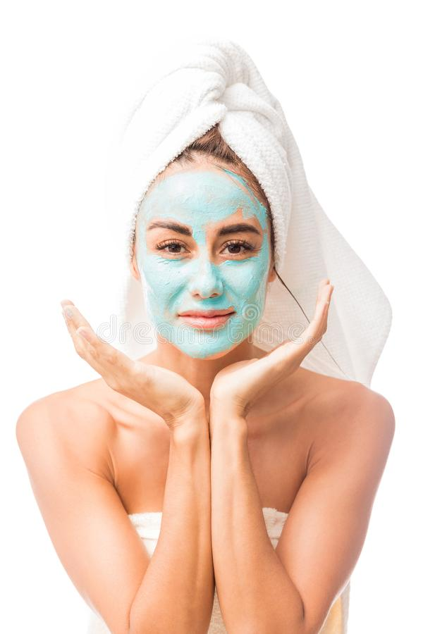 Satisfied Mid Adult Woman With Facial Mask royalty free stock images