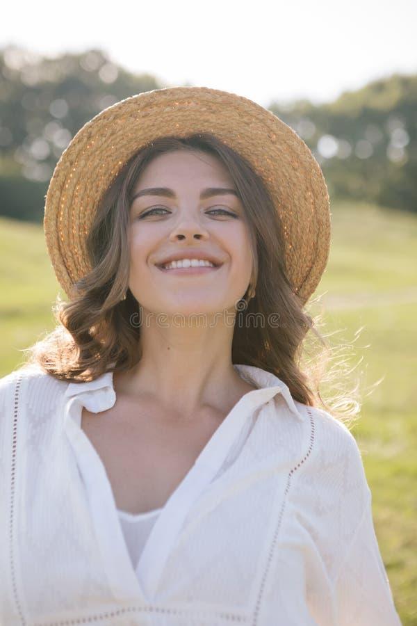Adorable straw hat happy woman stock photos