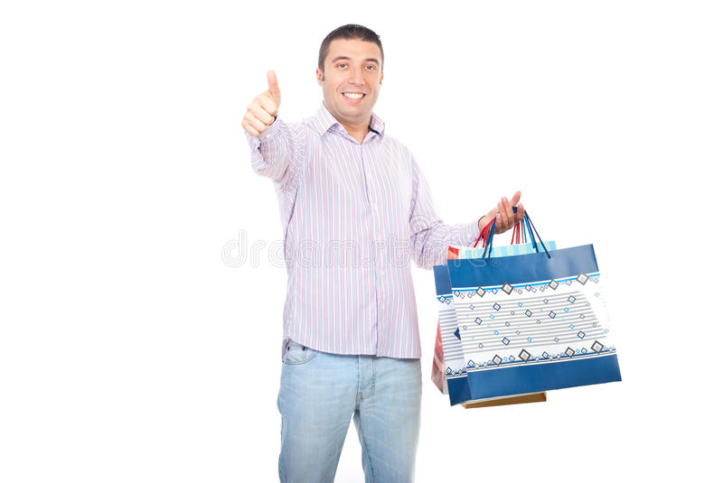 Satisfied shopper man give thumbs stock image