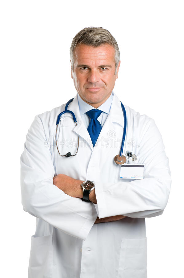 Satisfied smiling mature doctor stock image