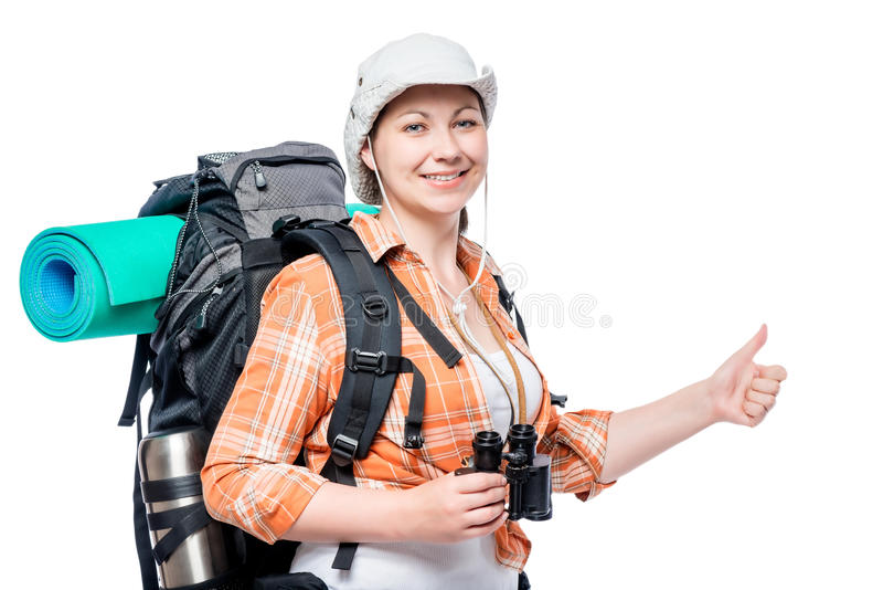 satisfied tourist with a backpack full of shows hand gesture stock photography