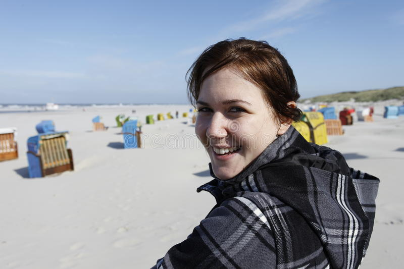 Satisfied Woman At The Beach Stock Photos