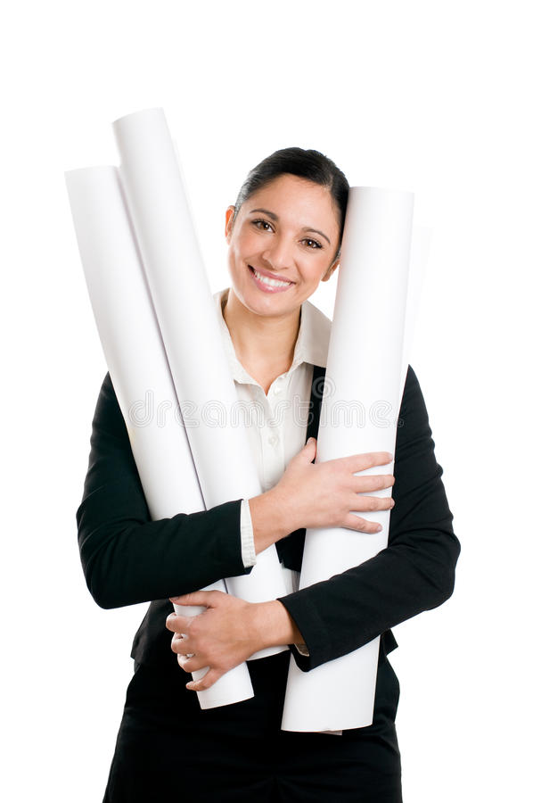 Download Satisfied Young Woman Architect Stock Photo - Image: 14052782