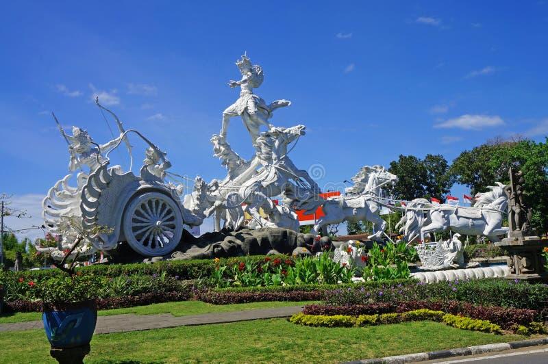 Satria Gatotkaca staty, Kuta, Bali fotografering för bildbyråer